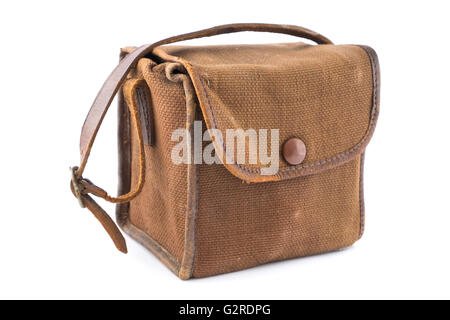 Small Vintage Brown Canvas Camera Bag over white. - Stock Image