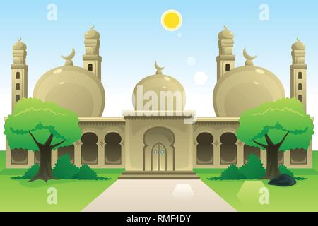 A vector illustration of Islamic Mosque at Noon - Stock Image