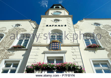 Rathaus (town hall) in the city of Neunkirchen in the Austrian state of Lower Austria. - Stock Image