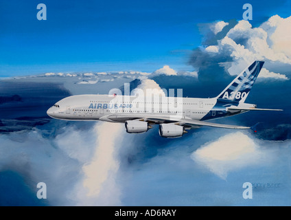 Painting of the largest passenger airplane Airbus A380-841 flying above clouds - Stock Image