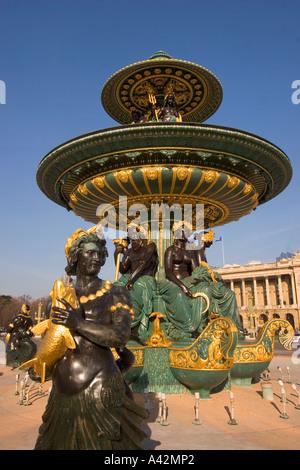 Paris France Place de la Concorde fountain sculptures - Stock Image