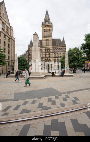 Manchester war memorial cenotaph in St Peters Square Manchester England designed by Sir Edward Luytens erected 1924 moved to present site in 2014. - Stock Image