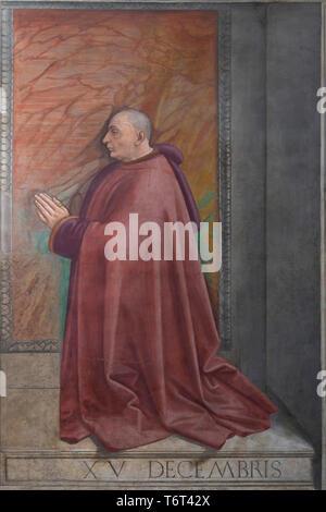 Portrait of the Donor, Francesco Sassetti, Fresco cycle, Life of St Francis, by Domenico Ghirlandaio, 1483-1485, Capella Sassetti, Sassetti Chapel, Ch - Stock Image