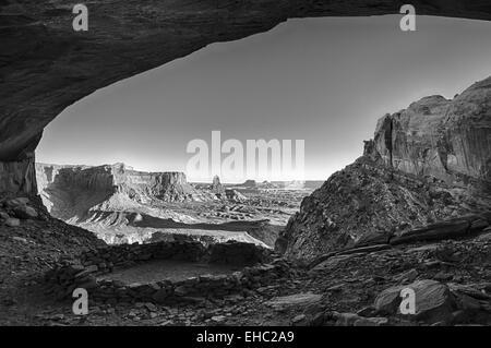 Canyonlands National Park Lost Kiva B&W - Stock Image