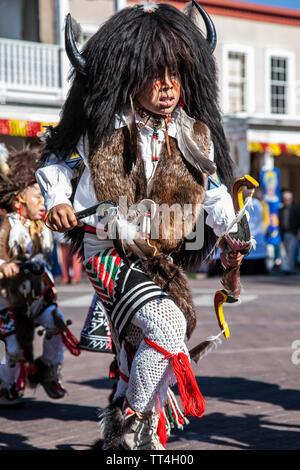 Young Buffalo Dancer, Solemn Procession, Fiesta de Santa Fe, Santa Fe, New Mexico USA - Stock Image
