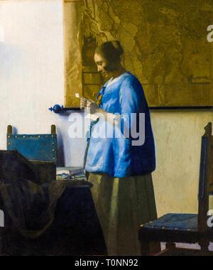 Johannes Vermeer, Woman Reading a Letter, portrait painting, c. 1663 - Stock Image