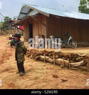 Village locals in Laotian mountains - Stock Image