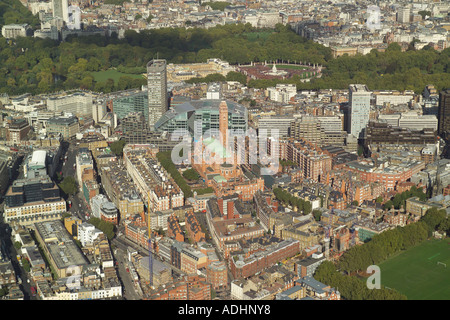 Aerial view of Westminster Cathedral in London with Buckingham Palace and Cardinal Place Shopping Centre in the background - Stock Image