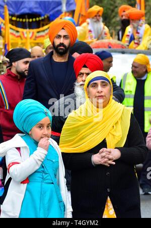 Gravesend, Kent, UK. 13th April. Vaisakhi (or Baisakhi / Vaishakhi / Vasakhi) annual Sikh festival celebrating the Punjabi New Year. 2019 - Stock Image