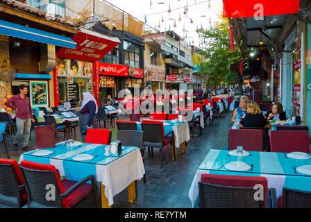2 Inonu Sokak, restaurant street for tourists, old town, Antalya, Turkey - Stock Image