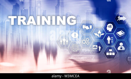Business training concept. Training Webinar E-learning. Financial technology and communication concept. - Stock Image