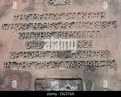 The Dalkeith park war memorial Midlothian - Stock Image