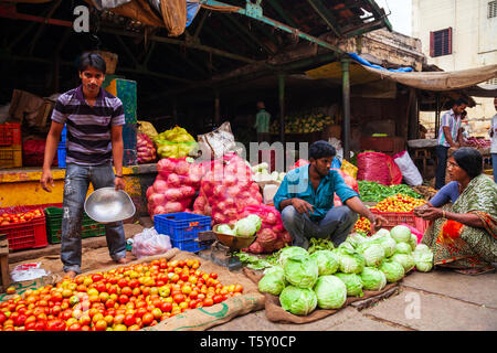 MYSORE, INDIA - MARCH 26, 2012: Fruts and vegetables at the local market in India - Stock Image