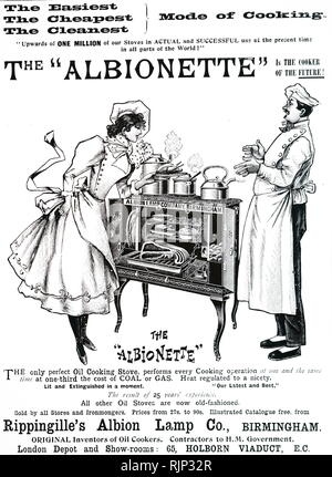 An advertisement for Rippingille's oil cooking stove. Dated 19th century - Stock Image