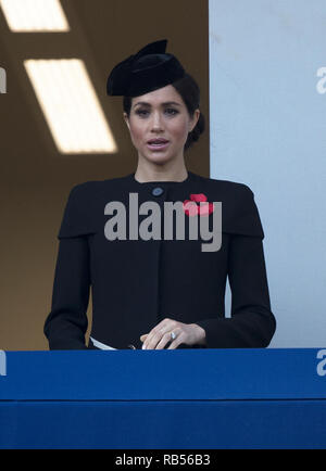 Meghan, Duchess of Sussex pictured at the Cenotaph in London on November 11th 2018, to mark the centenary of the Armistice which ended World War I. - Stock Image
