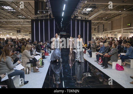 Models on the catwalk at MODA 2019 in Birmingham  Featuring: Atmosphere Where: Birmingham, United Kingdom When: 17 Feb 2019 Credit: Anthony Stanley/WENN.com - Stock Image
