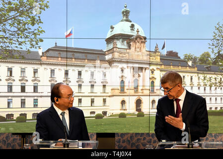Prague, Czech Republic. 17th Apr, 2019. Czech Prime Minister Andrej Babis (right) and Vietnamese Prime Minister Nguyen Xuan Phuc speak during the press conference in Prague, Czech Republic, April 17, 2019. Credit: Michal Krumphanzl/CTK Photo/Alamy Live News - Stock Image