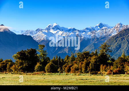View of Aoraki Mount Cook from the Lake Matheson Walkway - Stock Image