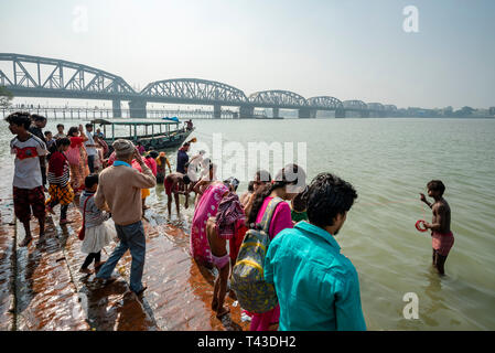 Horizontal view of the Kalighat on the banks of the Hooghly river in Kolkata aka Calcutta, India. - Stock Image