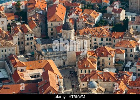 View of rooftops and cathedral; Dubrovnik, Croatia - Stock Image