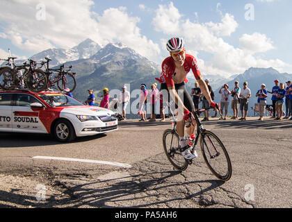 Marcel Sieberg Lotto Soudal Tour de France 2018 cycling stage 11 La Rosiere Rhone Alpes Savoie France - Stock Image