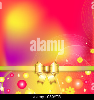 colorful abstract background with bow - Stock Image