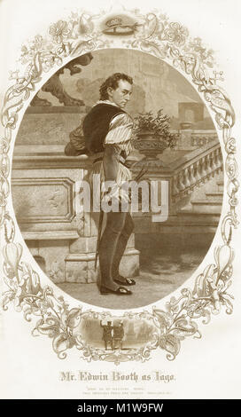 Engraving of the Shakespearean character Iago, acted by an American, Edwin Booth in Othello. From the Illustrated - Stock Image