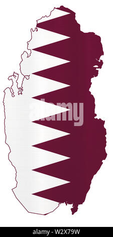 Qatar country flag geography soccer  football world cup 2022 illustration - Stock Image