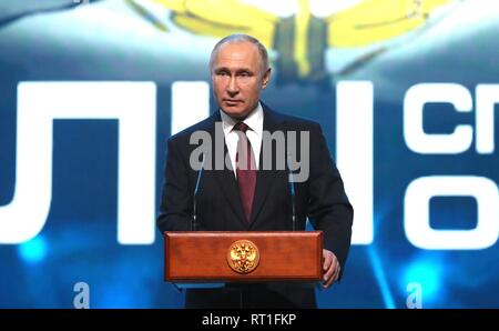 Moscow, Russia. 27th Feb, 2019. Russian President Vladimir Putin addresses a gala marking the Day of Russian Special Operations Forces February 27, 2019 in Moscow, Russia. Credit: Planetpix/Alamy Live News - Stock Image