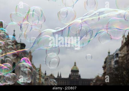 Europe, Czech Republic, Prague. Soap bubbles at Wenceslas Square. Credit as: Wendy Kaveney / Jaynes Gallery / DanitaDelimont.com - Stock Image