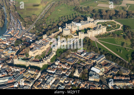 Aerial view of Windsor Castle from the SW - Stock Image