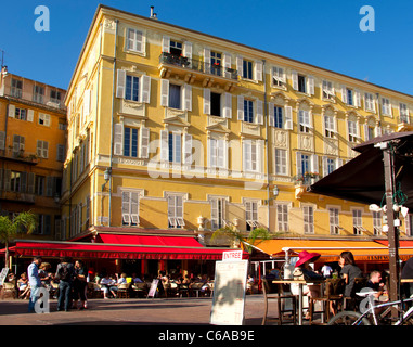 France, French Reviera, Nice, Cours de Saleya, Les Ponchettes street Cafe, - Stock Image