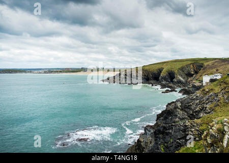 Fistral Bay in Newquay in Cornwall. - Stock Image