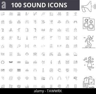 Sound line icons, signs, vector set, outline illustration concept  - Stock Image
