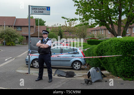 London, United Kingdom. 23 April 2019. Metropolitan Police were called at around 15:00BST to reports of a stabbing on Previous Camomile Way, West Drayton. Officers attended alongside the London Ambulance Service and London Air Ambulance and found a man suffering from stab injuries. His injuries are not believed to be life changing or life threatening. Seven people – no further details – have been arrested for offences including GBH, assisting an offender and possession of firearms. Credit: Peter Manning/Alamy Live News - Stock Image
