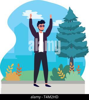 human man body raised hands cartoon vector illustration graphic design - Stock Image