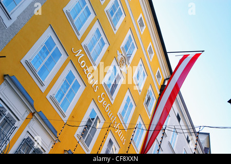 Birthplace of Wolfgang Mozart Amadeus in Salzburg, Austria - Stock Image