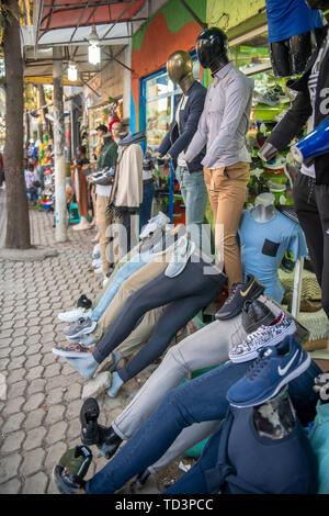 Clothing on display outside a storefront, Addis Ababa, Ethiopia - Stock Image