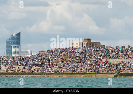 Portsmouth, UK. 25th July 2015. Crowds watching the America's Cup cover the Portsmouth shoreline. Credit:  MeonStock/Alamy - Stock Image