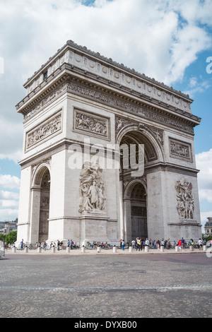 View of the Arc de Triomph in Paris, France. - Stock Image