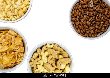 Selection of Healthy Breakfast Cereals In White Bowls With No People - Stock Image