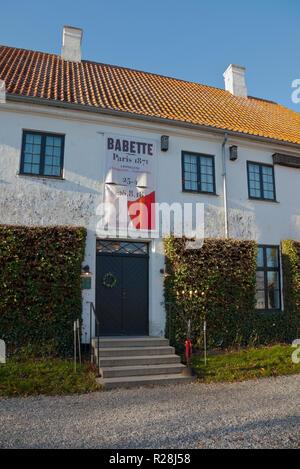 Karen Blixen's Rungstedlund in Rungsted during the exhibition Babette - Paris 1871. Babette was the French head chef in Blixen's story Babette's Feast - Stock Image