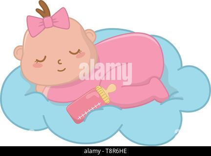 baby sleeping on a cloud with a bow icon cartoon vector illustration graphic design - Stock Image