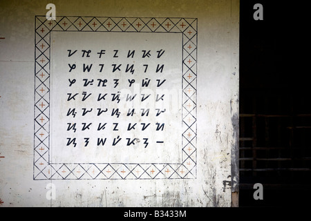 The Mangyan alphabet displayed on a church wall in the Mangyan community of Panaytayan, Oriental Mindoro, Philippines. - Stock Image