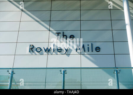 The Rowley Mile wording on the Millenium grandstand Newmarket 2019 - Stock Image
