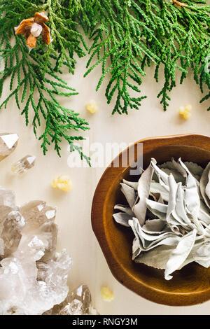 White Sage with Smoky Quartz and Incense Cedar - Stock Image