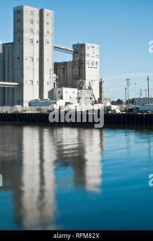 Grain Transfer Facility at a Seaport - Stock Image