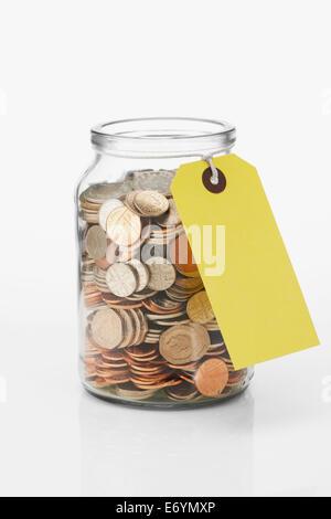 Savings Jar label tag - Stock Image