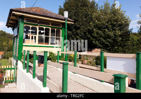 View of the Eythorne  Station Signal Box, and Platform approach ramp, at the  East Kent Railway Trust,  Station Road,  Shepherdswell, Dover - Stock Image