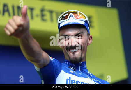 Macon to Saint-Etienne, France. 13th July 2019. Macon to Saint-Etienne, France. 13th July 2019,  Macon to Saint-Etienne, France; Tour de France cycling tour, stage 8; Julian Alaphilippe, Deceuninck - Quick - Step celebrates on the podium Credit: Action Plus Sports Images/Alamy Live News Credit: Action Plus Sports Images/Alamy Live News - Stock Image